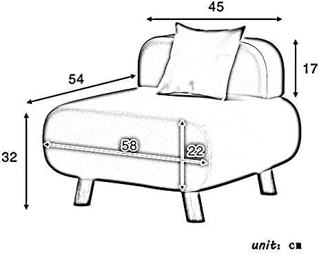 ZXQZ Tabouret Tissu Art Loisirs Canapé Tabouret 58x54x32cm Chaise Paresseux (Couleur : Gray)