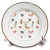 3dRose Anne Marie Baugh - Patterns - Cute Christmas Woodland Animals Pattern - 8 inch Porcelain Plate (cp_295536_1)