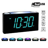 """ROCAM Digital Alarm Clock for Bedrooms - Large 6.5"""" LED Display with Dimmer, Snooze, 7 Color Night Light, Easy to Set, USB Chargers, Battery Backup, 12/24 Hours"""