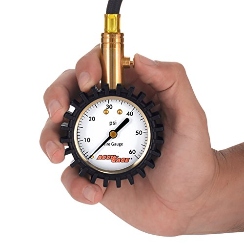 100 PSI Accu-Gage RH100XA Professional Tire Pressure Gauge with Protective Rubber Guard Angled Swivel Chuck