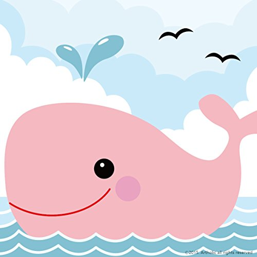 Colour Talk Diy oil painting, paint by number kits for kids - Pink small whale 8X 8.