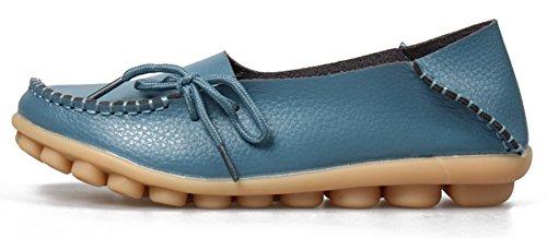 Blue Shoes Moccasin Light on Driving Women's Leather Flats Loafers Slip Labato Casual qaxpAqH
