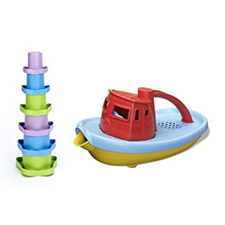 Green Toys Stacking Cups and Red Tugboat Bundle