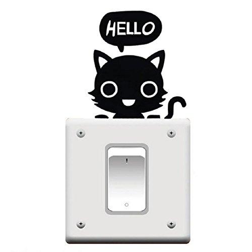 Mallom(TM) Cute Room Window Wall Decorating Switch Vinyl Decal Sticker Decor Cartoon (Black Small Cat)