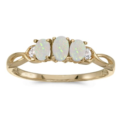 14k Yellow Gold Oval Opal And Diamond Three Stone Ring (Gold 14k Ring Split Yellow)