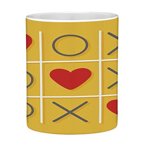 Funny Coffee Mug with Quote Love Decor 11 Ounces Funny Coffee Mug Tic Tac Toe Game with Xoxo Flat Design Let Me Kiss You Funny Playful Romantic Illustration Yellow Red