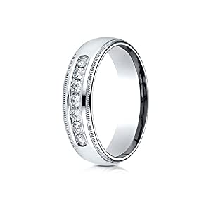 14k White Gold 6mm Comfort-Fit Channel Set 7-Stone Diamond Ring (0.42ct) - Size 4