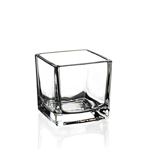 CYS EXCEL Glass Cube Vase, Cubic Flower Vase, Squared Candle Holder, Centerpiece Cubed Vase, Pack of -