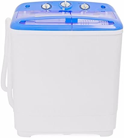 GHP 200W 115V 60Hz Blue & White Portable Double-Tub Mini Washing Machine with Hose