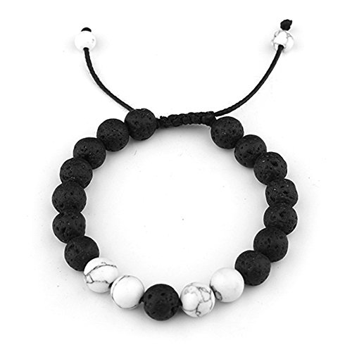 SULYSI Anxiety Lava Stone with Howlite Diffuesr Essential Oil Aromatherapy Bracelets for Men Women Bangle Cuff Adjustable - relax,reiki,energy,healing