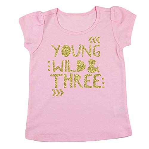 3rd Birthday Shirt for Girls Young Wild & Three Short Sleeve Puff Sleeve Pink Gold Shirt