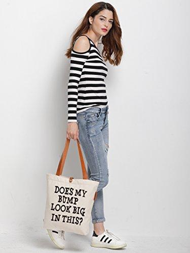 IN.RHAN Women's Letters Graphic Canvas Tote Bag Casual Shoulder Bag Handbag