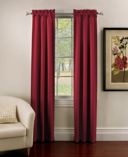 Thermatec Ridgedale Woven Blackout  Pole Top Panel, 40-Inch by 84-Inch, Set of 2, Cabernet