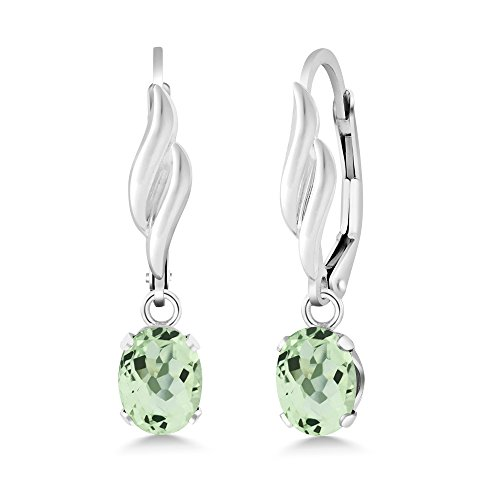 2.00 Ct Oval Green Prasiolite Gemstone Birthstone 925 Sterling Silver Earrings ()