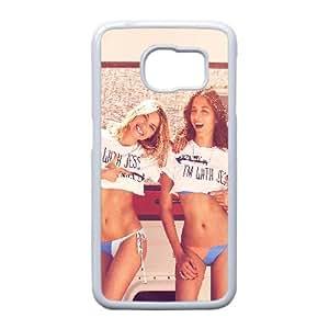 Hf51 Jessica Hart Gomes Sexy modelo Sexy Bikini Samsung Galaxy S6 Edge caja del teléfono celular funda blanca del teléfono celular Funda Cubierta EEECBCAAJ78391