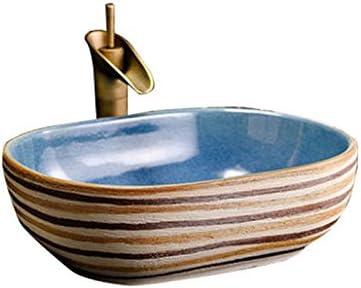 カウンター盆地洗面オーバルセラミック盆地アメリカの洗面アートヨーロッパの盆地上記 P3/19 (Size : A)
