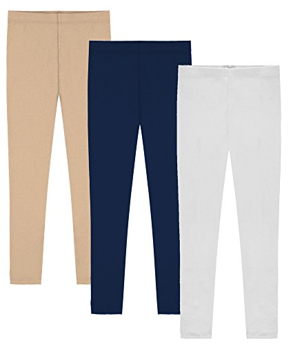 My Way Girls' Value Pack Solid Cotton Full Length Leggings - Khaki, Navy, and White - 8 (Tween Leggings)