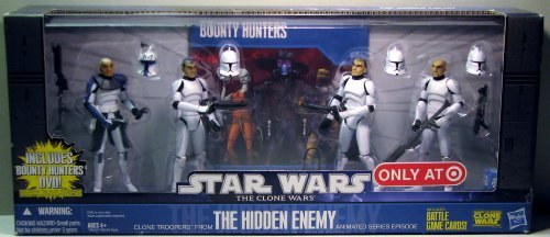 Star Wars 2010 Exclusive Action Figure 4Pack Battle Pack Hidden Enemy Captain Rex, Sgt. Slick, Clone Troopers Chopper ()