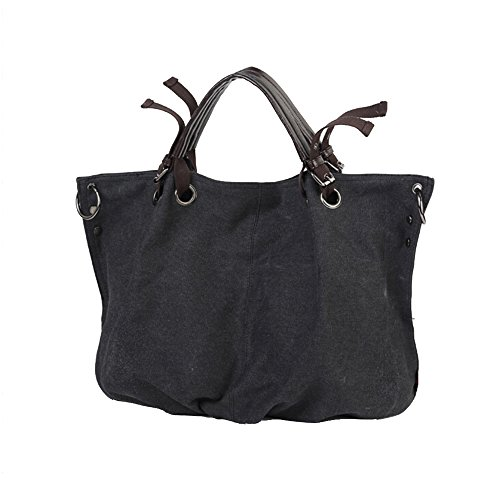 BYD - Mujeres School Bag Bolsos totes Bolsa de viaje Canvas Bag Carteras de mano Bolsos bandolera Shopping Bag with Multi Pockets Gris