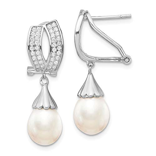 925 Sterling Silver Rh 9mm Rice Freshwater Cultured Pearl Cubic Zirconia Cz Omega Back Earrings Drop Dangle Fine Jewelry Gifts For Women For Her