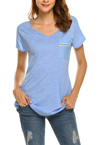 OURS Women's Casual Fashion Simple Comfy Knit Business Work T Shirt(Blue, S) by OURS