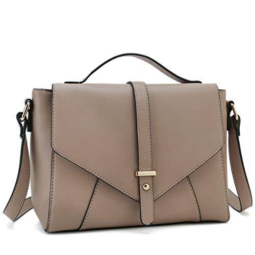 Medium Sized Crossbody Purses Ladies Designer Shoulder Bags for Women Handbags (Apricot)