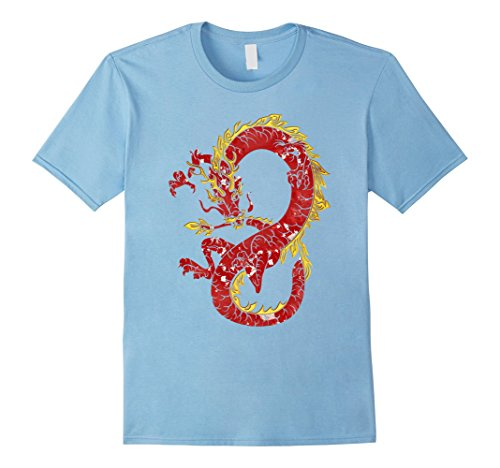 Mens Asian Japanese Chinese Dragon In Red And Gold T-shirt Design Large Baby (Asian Men Halloween Costume Ideas)