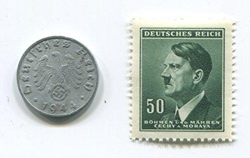 Rare Nazi Swastika 1 Reichspfennig German Coin World War Two WW2 with Green Stern Hitler Stamp - Stamp Coin Mnh