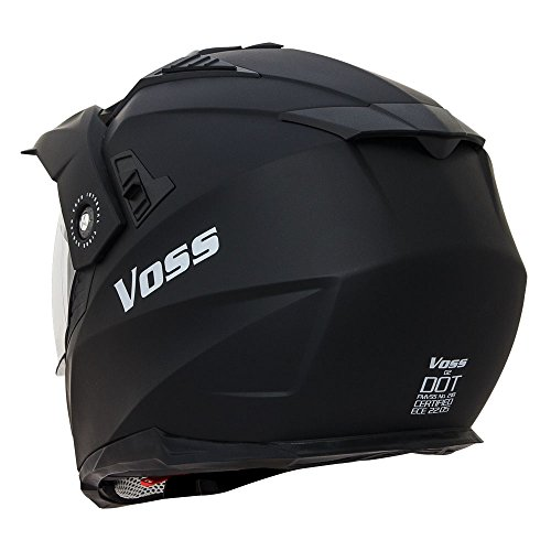 Voss 601 D2 Dual Sport Helmet with Integrated Sun Lens and Ratchet Quick Release System - Large - Matte Black by Voss Helmets (Image #2)