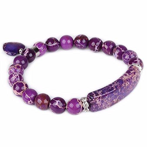 Purple Jasper Rock - Dyed Purple Sea Sediment Jasper Gem Semi Precious Gemstone Love Heart Charm Stretch Bracelet