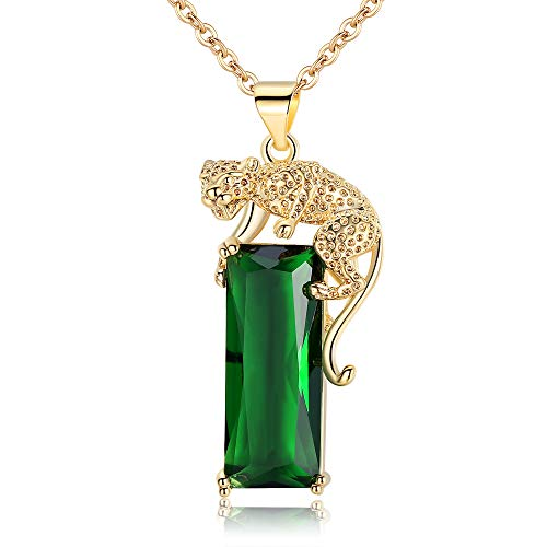 Hip Hop Jewelry for Men Women Leopard Head Teardrop Pendant Necklace Gold Plated Crystal-Leopard Set with Diamond&Green Crystal Pendant Iced Out Cuban Chains