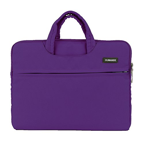 Laptop Sleeve Bag,14-14.4 Inch Handbag Case Cover Briefcase Waterproof Canvas with Handle Zipper Pocket for Notebook Computer (Purple Handle)