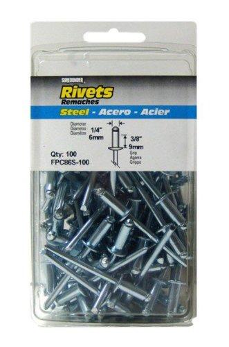 3//8 Grip 100 Count FPC Corp FPC86S-100 Short Steel Rivets 100 Count 3//8 Grip 1//4 Diameter