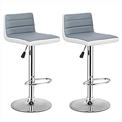 HEATAPPLY Table & Bar Stool, Set of 2 Adjustable PU Leather Bar Stools Gray + White