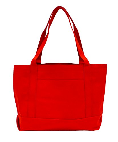 Bags for Less Solid Color Boat Tote Red (Red Beach Bag)