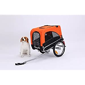 Sepnine Best sale 3 in 1 Luxury Large Sized Bike Trailer Bicycle Pet Trailer/Jogger/Dog Cage with Suspension 10308 (Orange/Black)