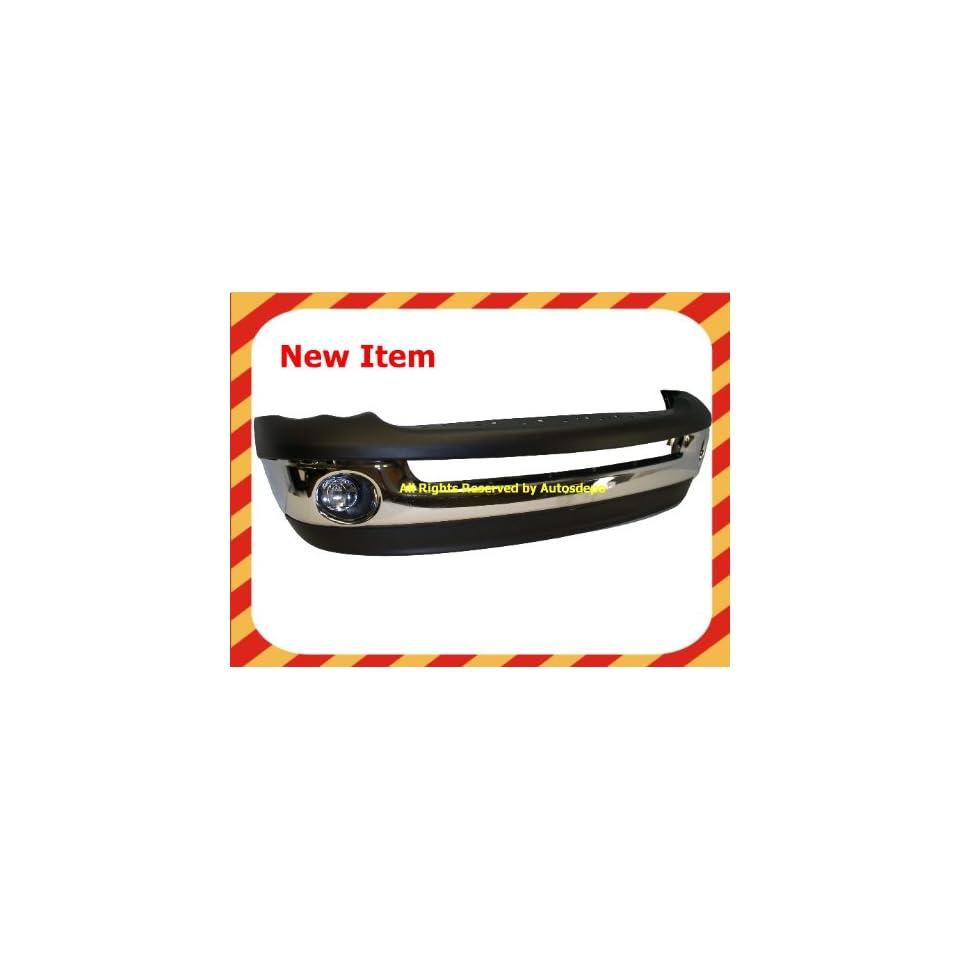 2002 2005 DODGE RAM 1500 PICKUP FRONT BUMPER CHROME WITH VALANCE FOG LIGHT NEW