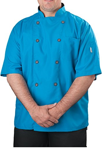 KNG Mens Short Sleeve Active Chef Coat, Teal with Slate Accent, M (Best Food In Avignon)