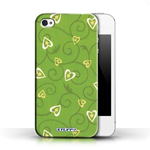 Etui / Coque pour Apple iPhone 4/4S / Jaune/Vert conception / Collection de Coeur Vigne Motif