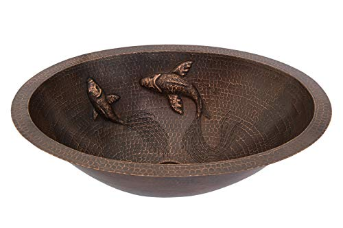 Premier Copper Products LO19FKOIDB Oval Under Counter Hammered Copper Bathroom Sink with Koi Fish Design