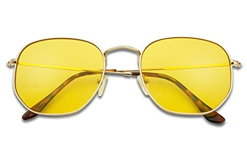 SunglassUP - Colorful Classic Vintage Round Flat Lens Lennon Style Sunglasses (Gold Frame | Yellow, 55)