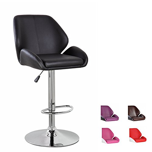 EuroStile Adjustable PU Leather Swivel Bar Stools Chairs Black 5088