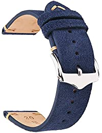 EACHE Suede Leather Watch Band Replacement Straps 22mm Dark Blue