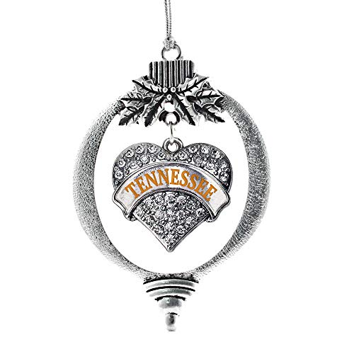 Tennessee Heart Charm - Inspired Silver - Tennessee Charm Ornament - Silver Pave Heart Charm Holiday Ornaments with Cubic Zirconia Jewelry
