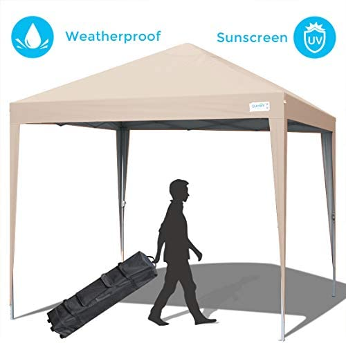 Quictent Upgraded Privacy 10×10 EZ Pop Up Canopy Tent Instant Folding Outdoor Gazebo Party Tent Waterproof Beige