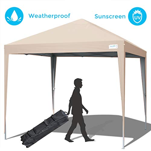 Quictent 10×10 Pop up Canopy Tent Commercial Instant Shelter Waterproof with Wheeled Carry Bag Beige