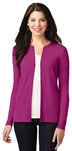 Port Authority Ladies Concept Stretch Button-Front Cardigan, Magenta, Large