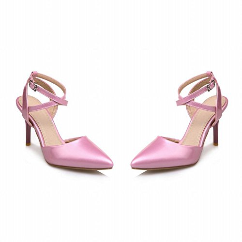 Mee Shoes Women's Charm High Heel Ankle Strap Buckle Pointed Toe Court Shoes Pink cVO7TP
