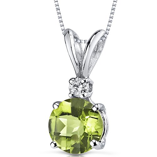 14 Karat White Gold Round Cut 1.00 Carats Peridot Diamond Pendant (Peridot Round Cut Pendant)