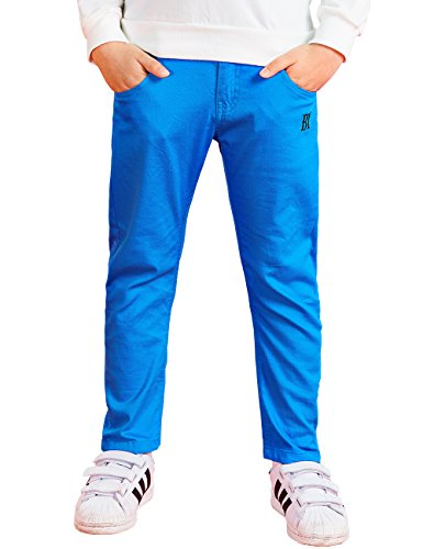 BYCR Boys' Elastic Waist Cotton Jogger Pants for Kids Size 4-12 No. 7170100822 (150 ( US Size 10 ), blue) (Joggers For Boys 11)